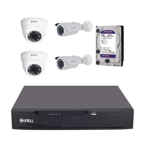 4 UHD cameras with 2TB purple WD HDD and 8 channels DVR
