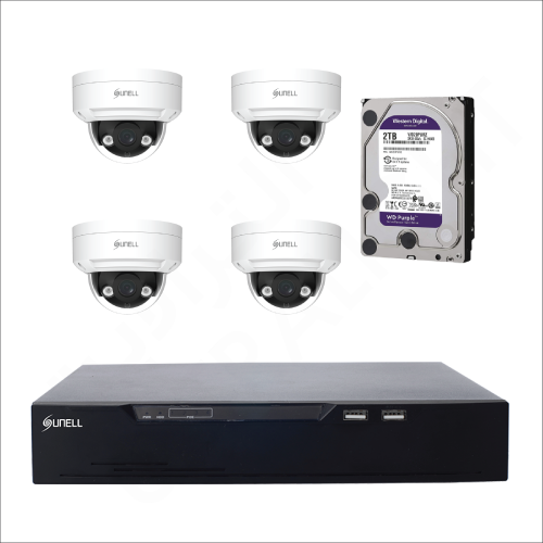 4 IP cameras (4MP) with 2TB purple WD HDD and 4 channels DVR