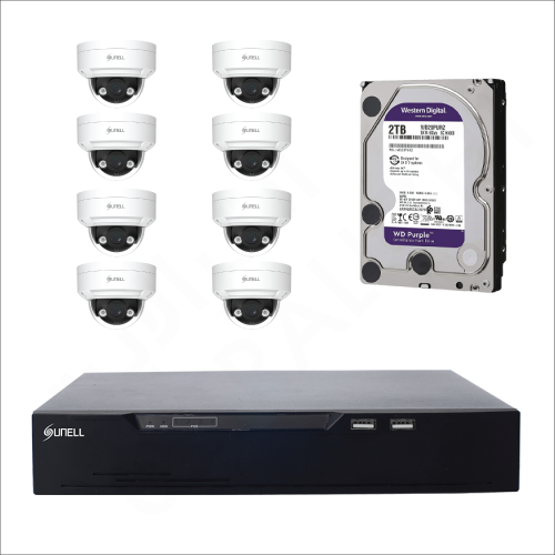 8 IP cameras (4MP) with 4TB purple WD HDD and 8 channels DVR