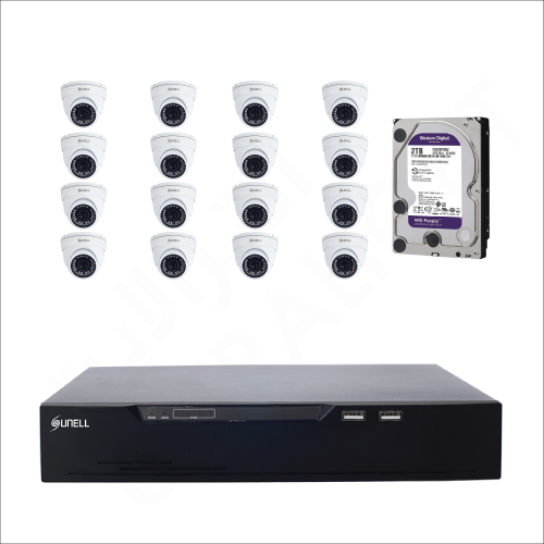 16 IP cameras (2MP) with 6TB purple WD HDD and 16 channels DVR