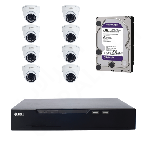 8 IP cameras (2MP) with 4TB purple WD HDD and 8 channels DVR