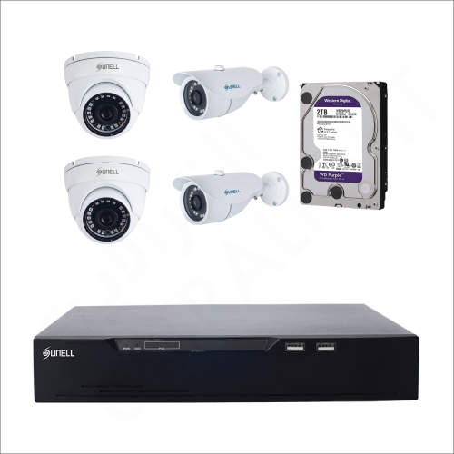 4 IP cameras (2MP) with 2TB purple WD HDD and 4 channels DVR